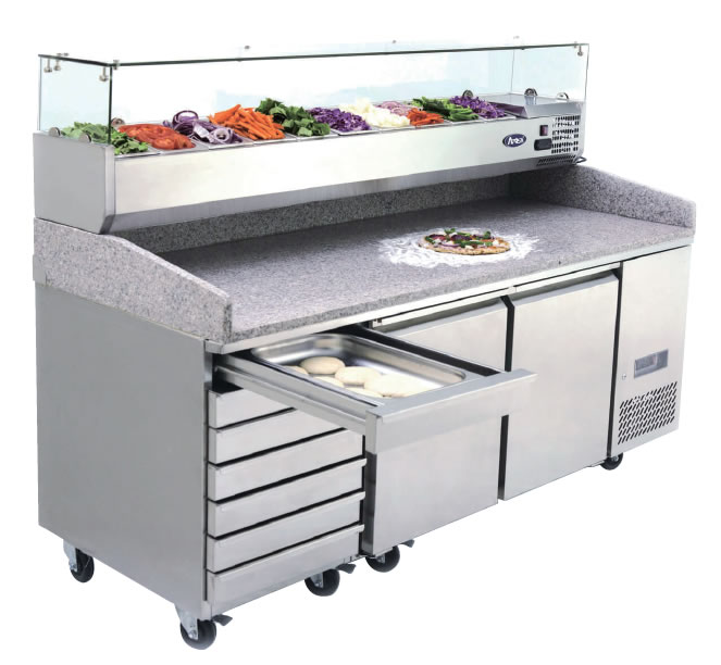2 Door Refrigerated Pizza Table With Drawers 2010 mm