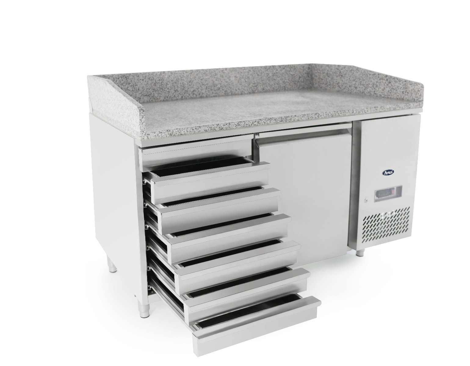 1 Door Refrigerated Pizza Table with Drawers 1510 mm