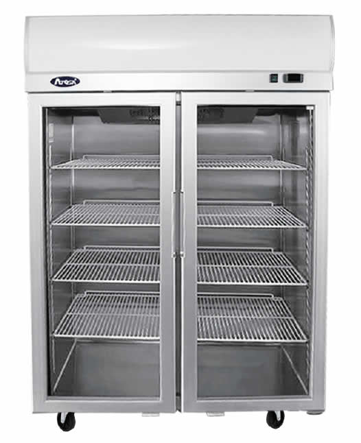 Top Mounted Double Door Glass Fridge